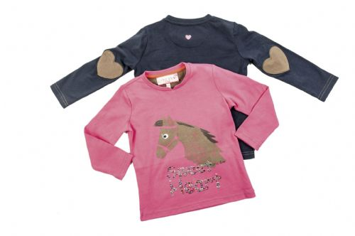 HKM Little Sister Sweetheart Long Sleeve Shirt in Deep Blue or Pink